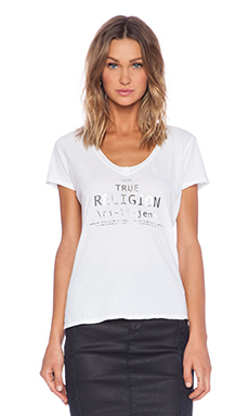True Religion Relaxed V Neck Tee in White