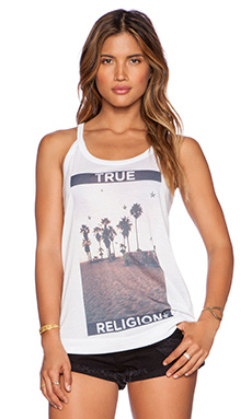 True Religion Palm Tree Tank in White