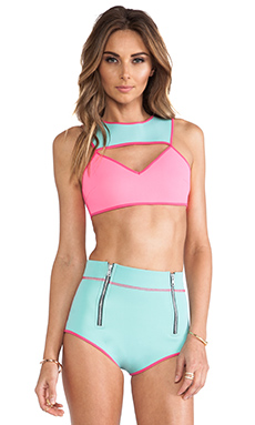 This is a Love Song Time Frame Bikini in Pink/Blue
