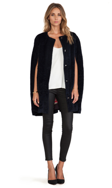 Trina Turk Lilette Faux Fur Cape in Navy