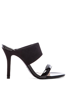 Trina Turk Larabee Heel in Black Suede & Black Patent