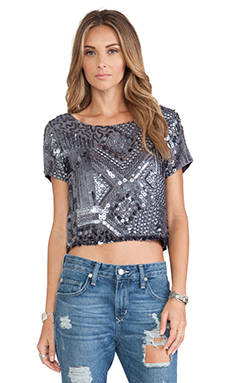 Tularosa Sasha Crop Top in Grey & Gunmetal