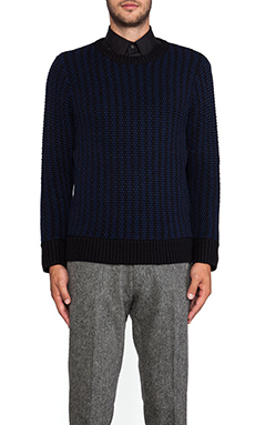 TIMO WEILAND Popcorn Crewneck Sweater in Navy