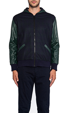 TIMO WEILAND Greg Combo Hooded Jacket in Navy/Green Plaid