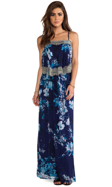 Twelfth Street By Cynthia Vincent Tiered Maxi Dress in Midnight Floral