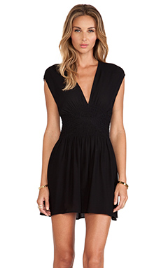 Twelfth Street By Cynthia Vincent Smocked Mini Dress in Black