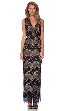 Twelfth Street By Cynthia Vincent Sleeveless Lace Maxi Dress in Black