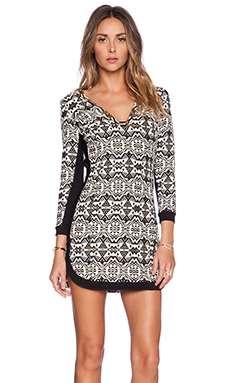 Twelfth Street By Cynthia Vincent Long Sleeve Shift Dress in Brocade