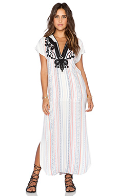 Twelfth Street By Cynthia Vincent Jalaba Hoodie Maxi Dress in Blanket Stripe