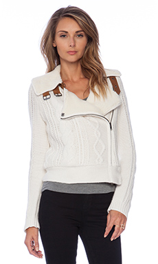 Twelfth Street By Cynthia Vincent Shearling Lined Moto Jacket in Ivory