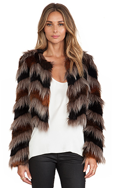 Twelfth Street By Cynthia Vincent Faux Fur Coat in Multi