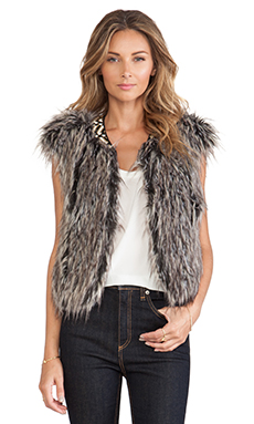 Twelfth Street By Cynthia Vincent Faux Fur Vest in Taupe