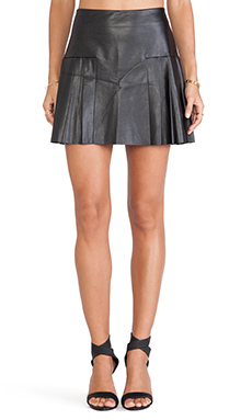 Twelfth Street By Cynthia Vincent Faux Leather Pleated Mini Skirt in Black