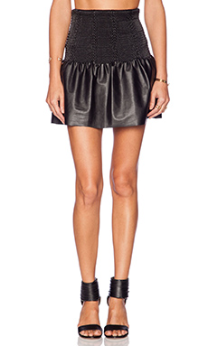 Twelfth Street By Cynthia Vincent Smocked Waist Leather Skirt in Black