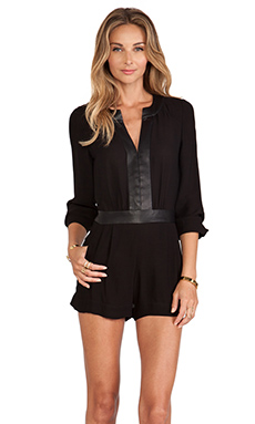 Twelfth Street By Cynthia Vincent Leather Trim Romper in Black