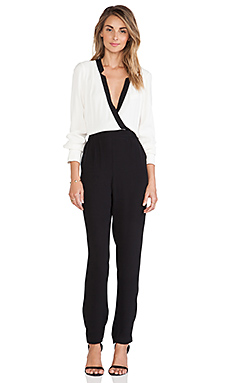 Twelfth Street By Cynthia Vincent Notched Collar Jumpsuit in Black