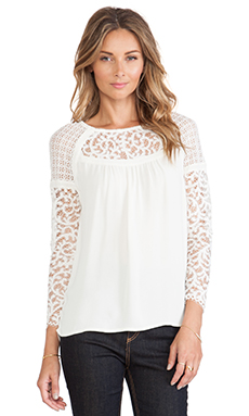 Twelfth Street By Cynthia Vincent Contrast Lace Blouse in Ivory