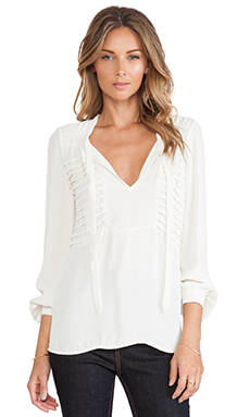 Twelfth Street By Cynthia Vincent Pleated Bodice Blouse in Ivory
