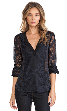 Twelfth Street By Cynthia Vincent V Neck Blouse in Black