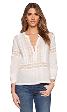Twelfth Street By Cynthia Vincent Gauze Lace Top in Ivory
