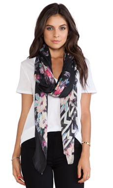 Twelfth Street By Cynthia Vincent Film Noir Floral Scarf in Black