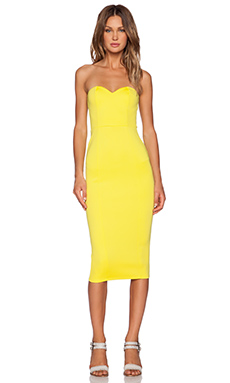 Twin Sister Bandeau Midi Dress in Lime