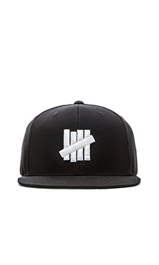 Undefeated 5 Strike Snapback in Black White