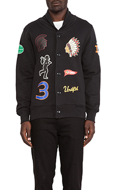 Undefeated Senior V Fleece Cardigan in Black