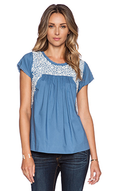 Ulla Johnson Calla Blouse in Cornflower