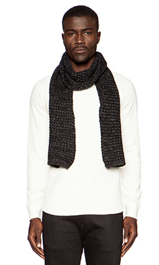 United Stock Dry Goods 3-Gauge Knit Scarf in Black/ Gray Marl
