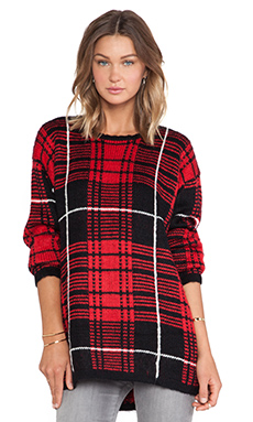 UNIF Jumbo Plaid Sweater in Red Plaid