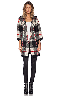 UNIF Deco Cardigan in Red & Black & White Plaid