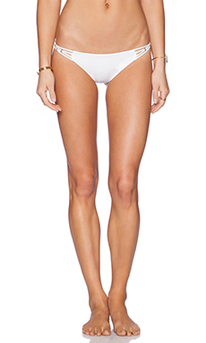 vitamin A Amber Beaded Bikini Bottom in White Ecolux