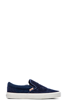 Vans California Classic Slip On in Knit Suede Dress Blues
