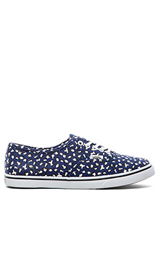 Vans Authentic Lo Pro Herringbone Leopard Sneaker in Twilight Blue & White