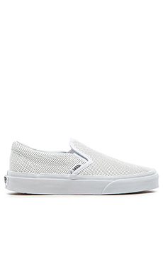 Vans Classic Perforated Leather Slip On in White