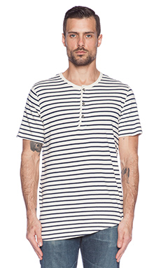 Velvet by Graham & Spencer Beach Stripe Tee in Cream/Navy