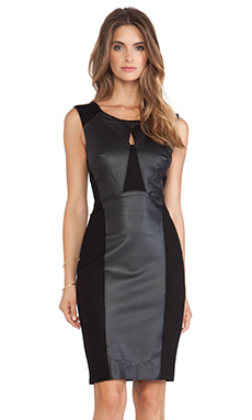 Velvet by Graham & Spencer Aegina Ponti w/ Faux Leather Dress in Black