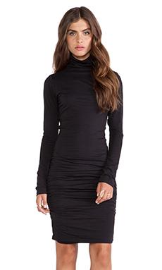 Velvet by Graham & Spencer Pietro Gauzy Whisper Turtleneck Dress in Black