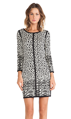 Velvet by Graham & Spencer Mya Snow Leopard Jacquard Dress in Black & Cream