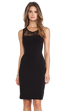 Velvet by Graham & Spencer Kito Stretch Jersey with Lace Dress in Black