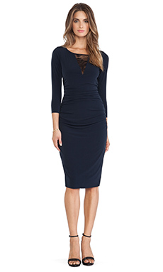 Velvet by Graham & Spencer Orla Stretch Jersey with Lace Dress in Midnight