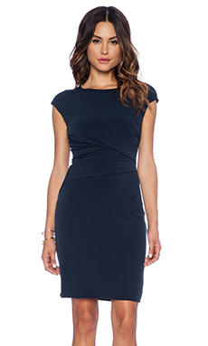 Velvet by Graham & Spencer Taki Stretch Jersey with Lace Dress in Midnight