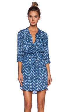 Velvet by Graham & Spencer Printed Challis Jordy Dress in Blue & White