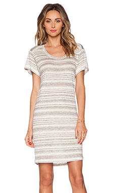Velvet by Graham & Spencer Heather Stripe Linen Vika Dress in Heather Grey
