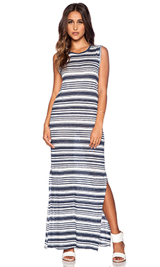 Velvet by Graham & Spencer Heather Stripe Linen Yuelle Dress in Granite