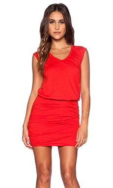Velvet by Graham & Spencer Cotton Slub Bardot Dress in Sportred