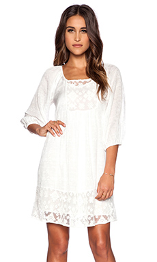 Velvet by Graham & Spencer Lace Damask Voile Jolecia Dress in White