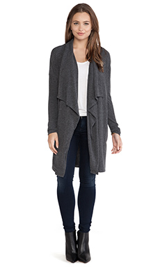 Velvet by Graham & Spencer Deja Marie Cozy Jersey Cardigan in Charcoal