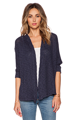 Velvet by Graham & Spencer Cotton Crochet Jackie Cardigan in Navy